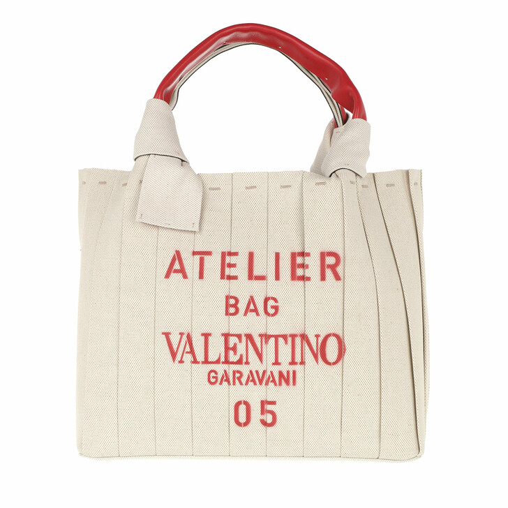 Handtasche, Valentino Garavani, Small 05 Plisse Edition Atelier Tote Bag Natural