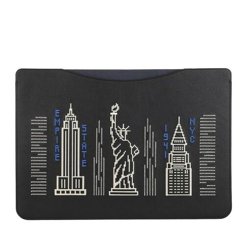 coach -  Smartphone Cases - 16 Inch Laptop Sleeve In Smooth Leather With Stard - in schwarz - für Damen