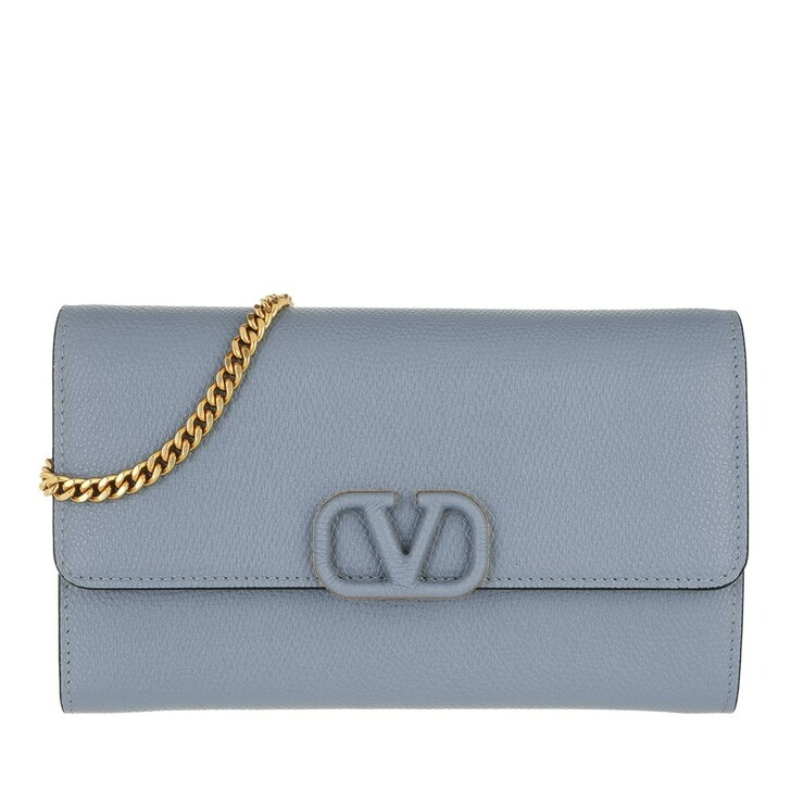 wallets, Valentino Garavani, VLogo Signature Chain Wallet Niagara Blue