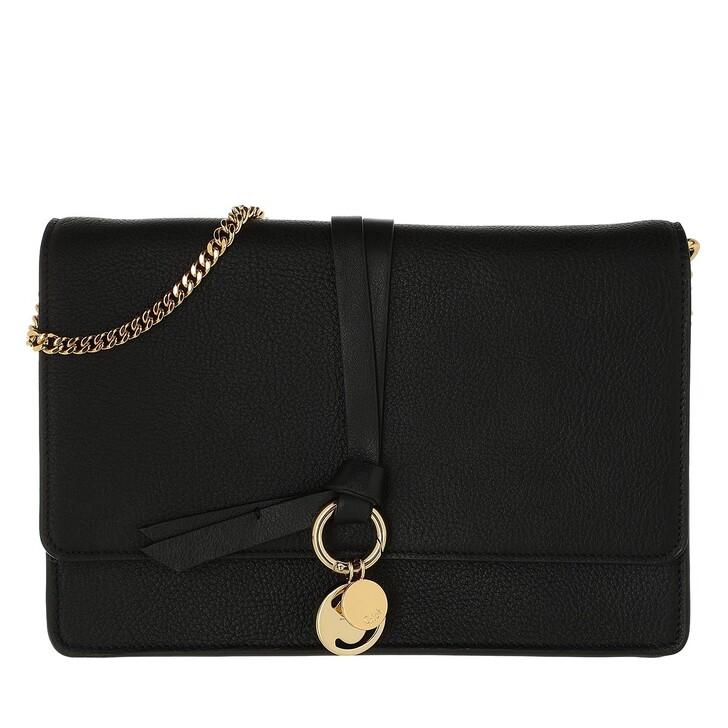 bags, Chloé, Alphabet Clutch Leather Black