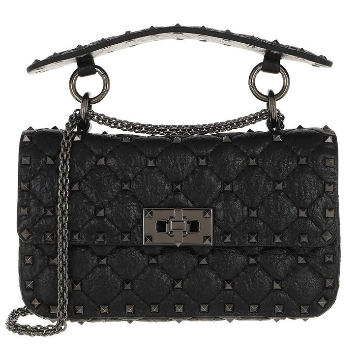 Handtasche, Valentino Garavani, Rockstud Spike Crossbody Bag Small Craquelé Nero