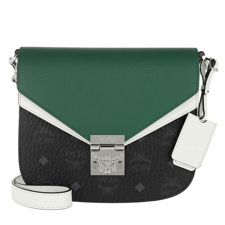 Handtasche, MCM, Patricia Visetos Leather Block Shoulder Small Black & Eden
