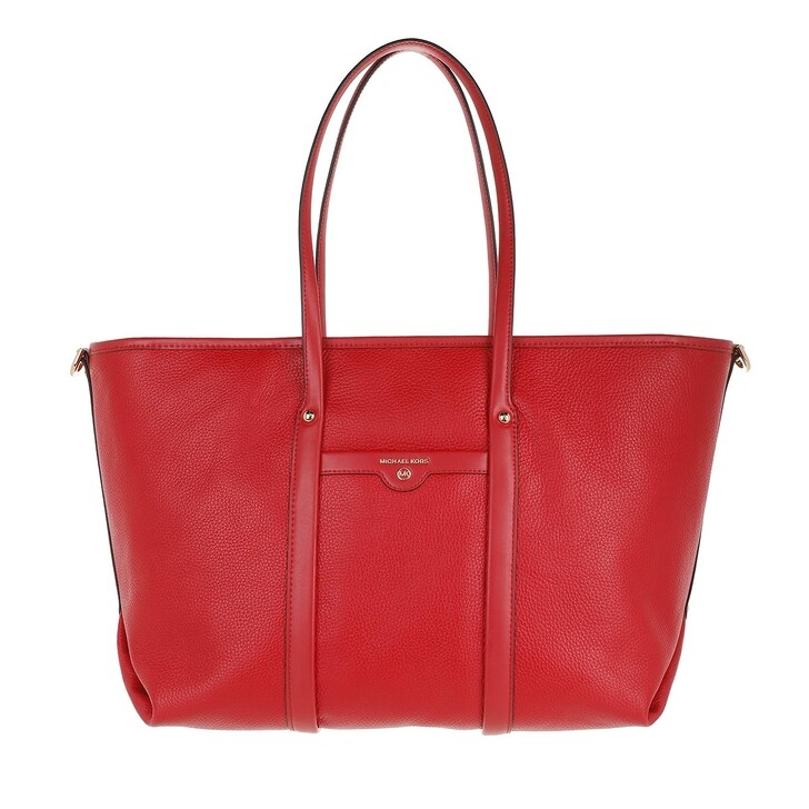 bags, MICHAEL Michael Kors, Beck Large Tote  Leather Bright Red