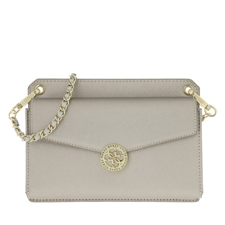 Handtasche, Guess, Mini Flap Holdall Crossbody Silver