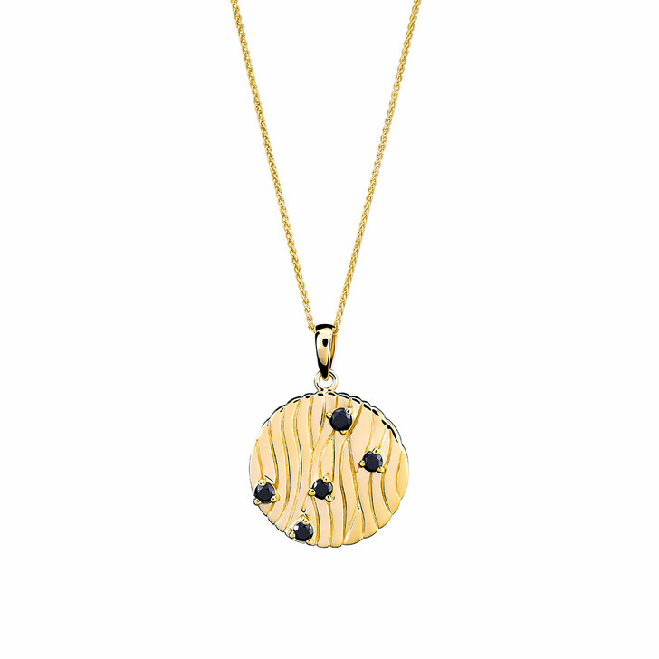 Kette, Orphelia, Sterling Silver Necklace Black Zirconia Yellow Gold