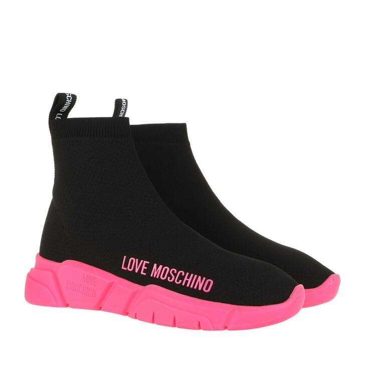 Schuh, Love Moschino, Gomma 35 Sneaker Nero Fuxia