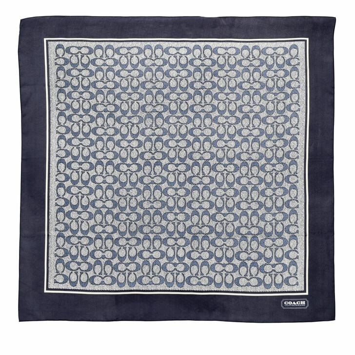 scarves, Coach, Vintage Signature C Printed Silk Square Midnight Navy