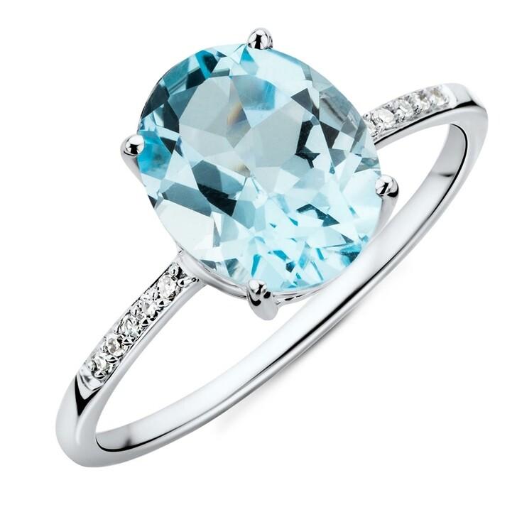 Ring, BELORO, 9KT Diamond and Sky Blue Topaz Ring White Gold