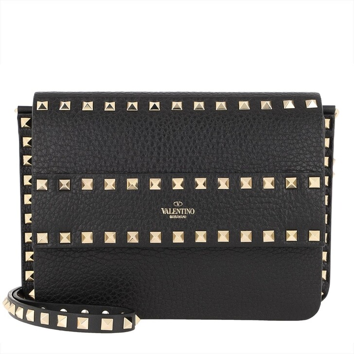 Handtasche, Valentino, Rockstud Shoulder Bag Leather Black