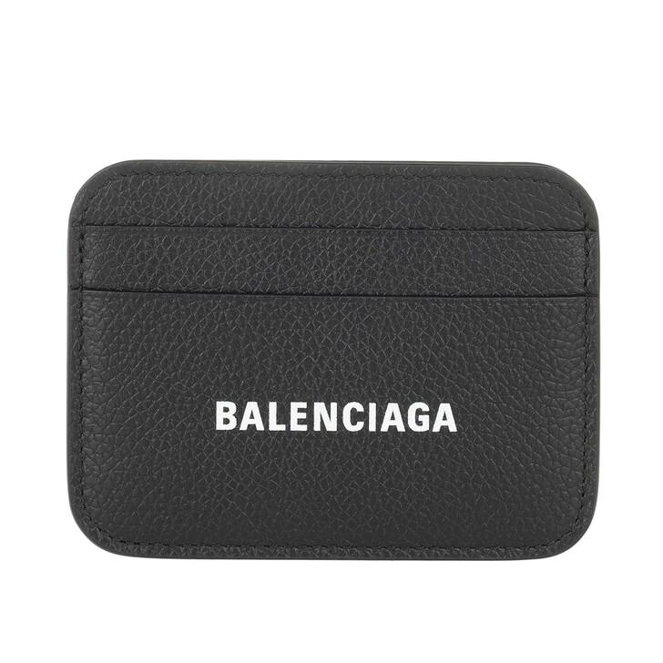 wallets, Balenciaga, Card Holder Grained Black White
