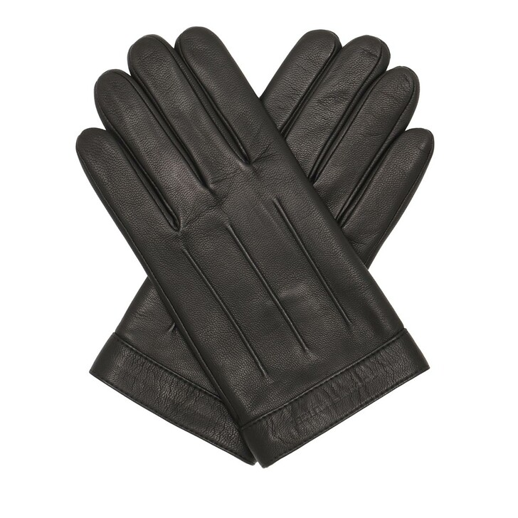 Handschuh, Tommy Hilfiger, Logo Embossed Leather Gloves Black