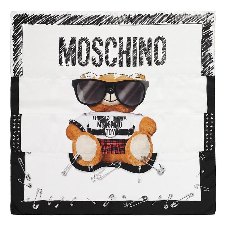 scarves, Moschino, Foulard Orso 90X90 Fantasia Bianco