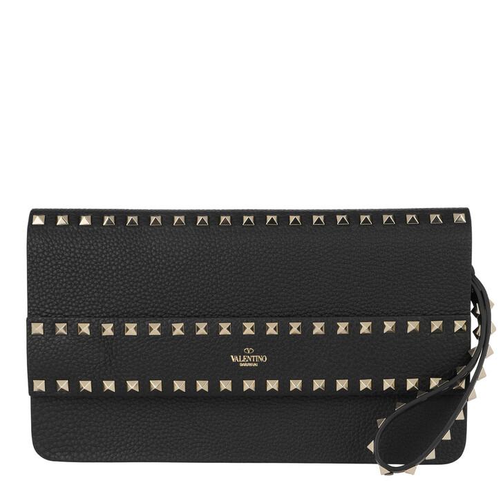 bags, Valentino Garavani, Rockstuds Clutch Black