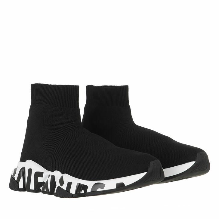 shoes, Balenciaga, Speed Logo Sneakers Graffiti Black/White