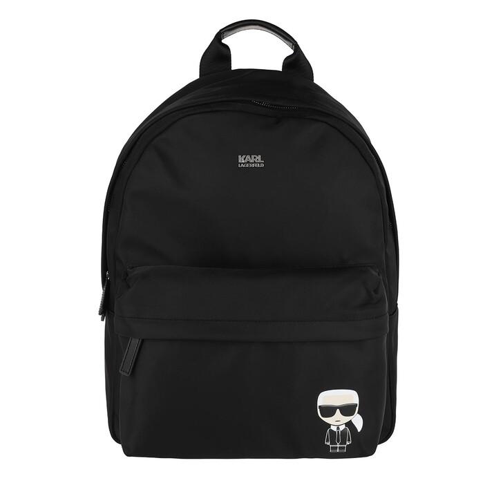 Reisetasche, Karl Lagerfeld, K/Ikonik Nylon Backpack  Black