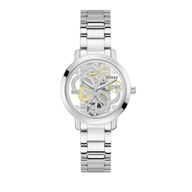 watches, Guess, Ladies Watch Quattro Clear Silver
