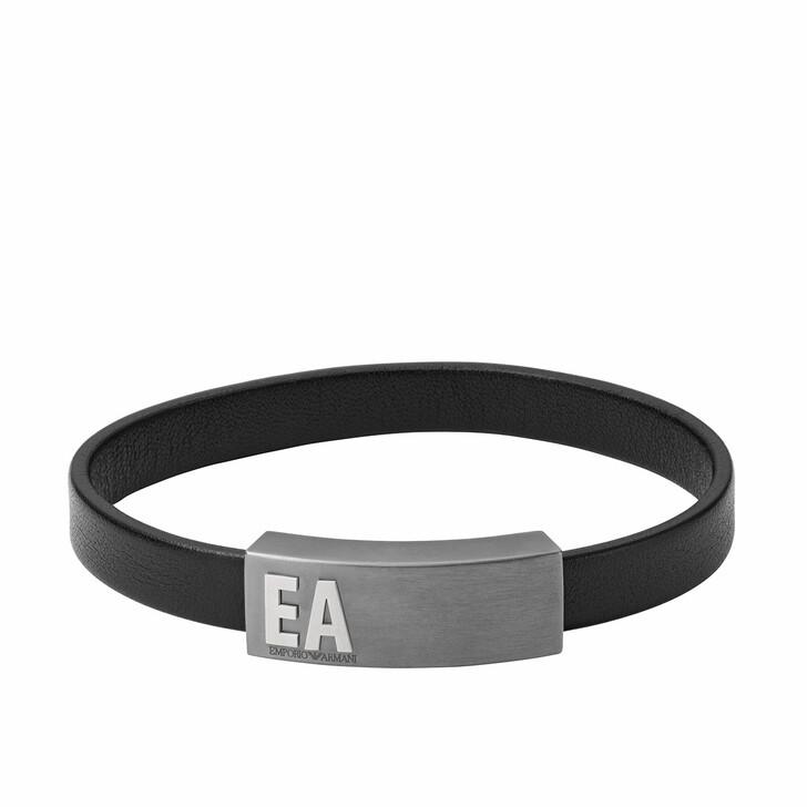 Armreif, Emporio Armani, Men Leather Bracelet Black