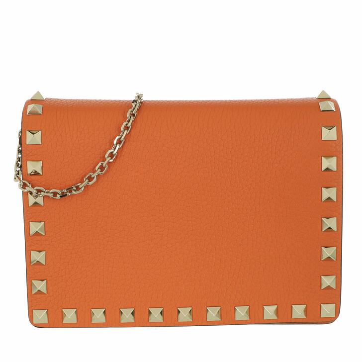 bags, Valentino Garavani, Rockstud Crossbody Bag Orange Zest