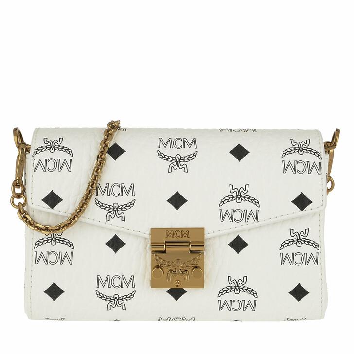 Handtasche, MCM, Patricia Visetos Small Belt Bag White