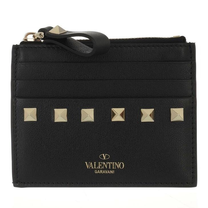 wallets, Valentino Garavani, Rockstud Card Wallet Leather Black