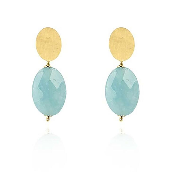 Ohrring, LOTT.gioielli, Earrings Quartz Oval S Matt Blue