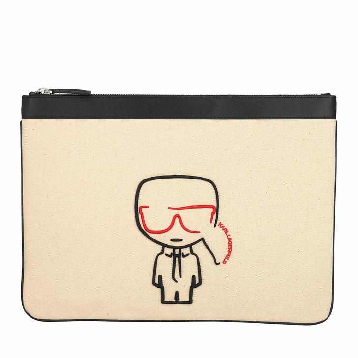 Handtasche, Karl Lagerfeld, K/Ikonik Canvas Pouch Natural/Black