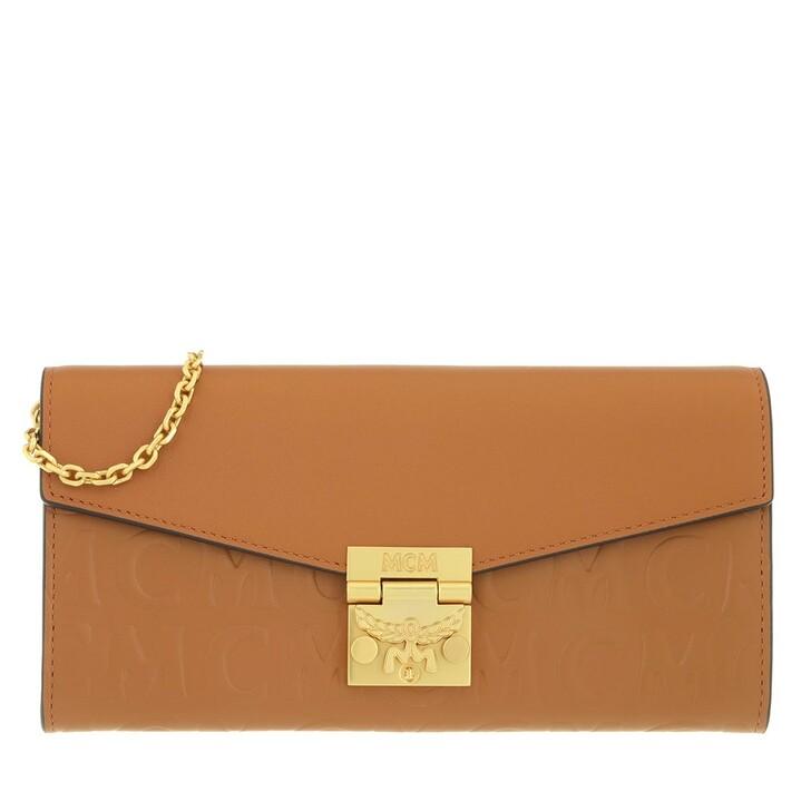 Geldbörse, MCM, Large Patricia Wallet Leather Cognac