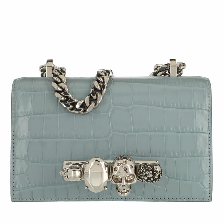 bags, Alexander McQueen, Skull Crossbody Bag Leather Light Blue