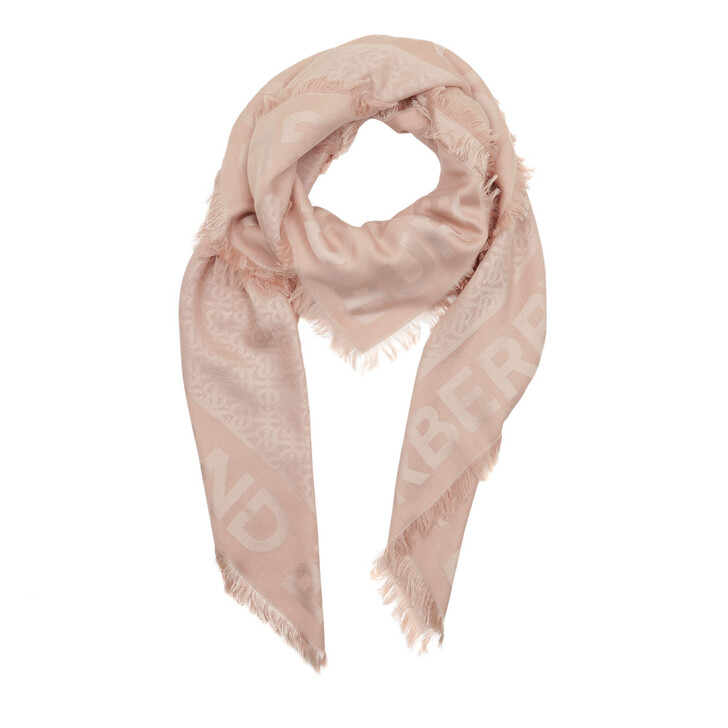 Schal, Burberry, Monogram Silk Wool Jacquard Large Square Scarf Rose Beige