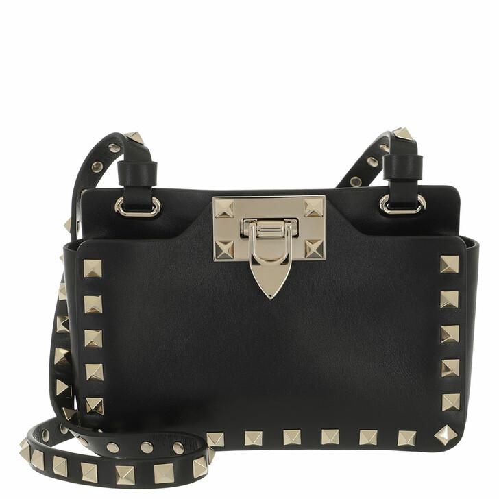 bags, Valentino Garavani, Rockstud Pouch With Shoulder Strap Calfskin Black