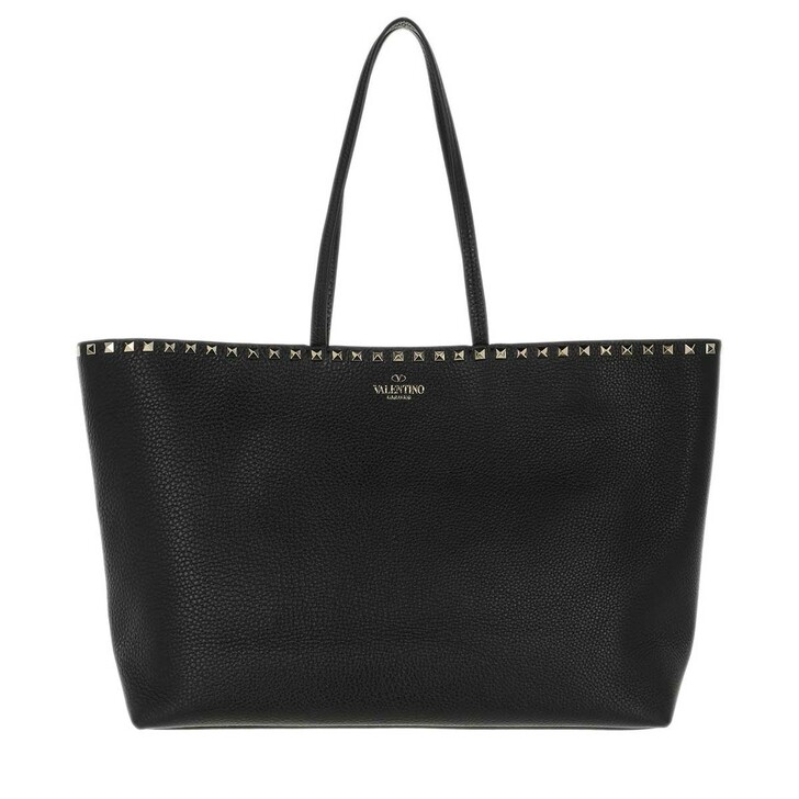 Handtasche, Valentino, Rockstud Studded Shopping Bag Leather Black