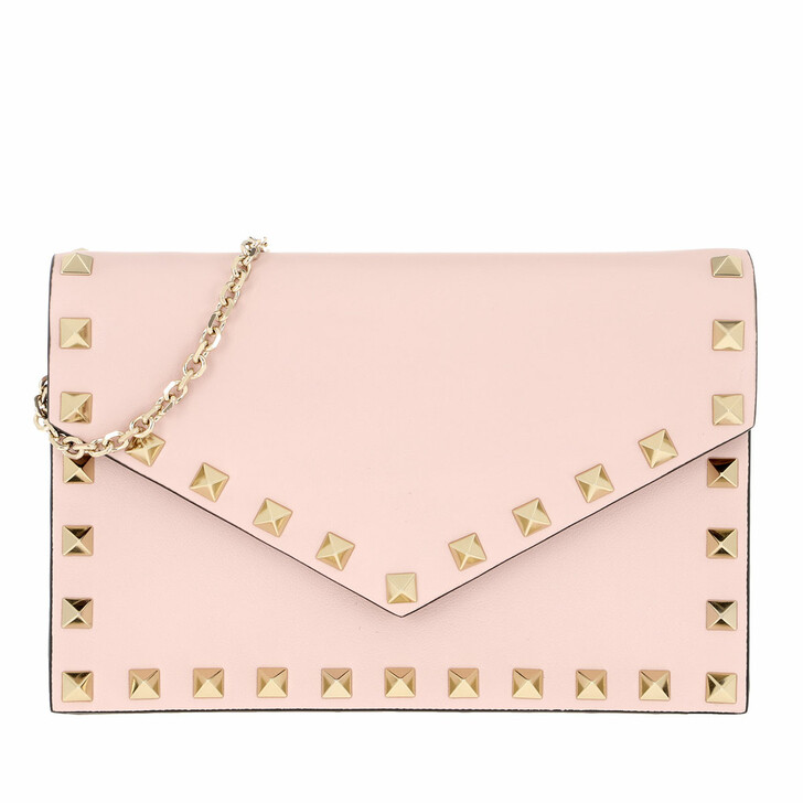 Handtasche, Valentino Garavani, Rockstud Envelope Shoulder Bag Leather Rose Quartz