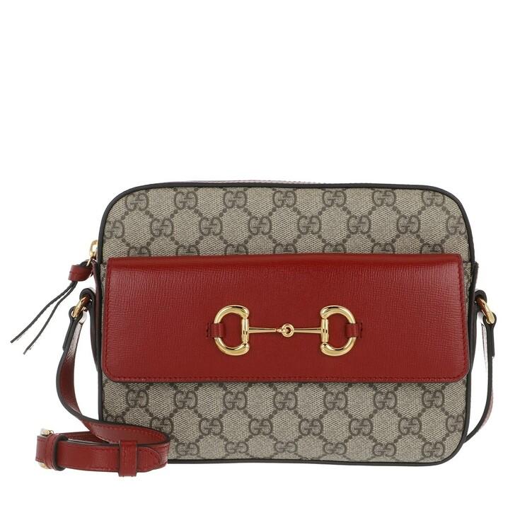Handtasche, Gucci, Small Horsebit 1955 Crossbody Bag Beige Ebony/Cherry