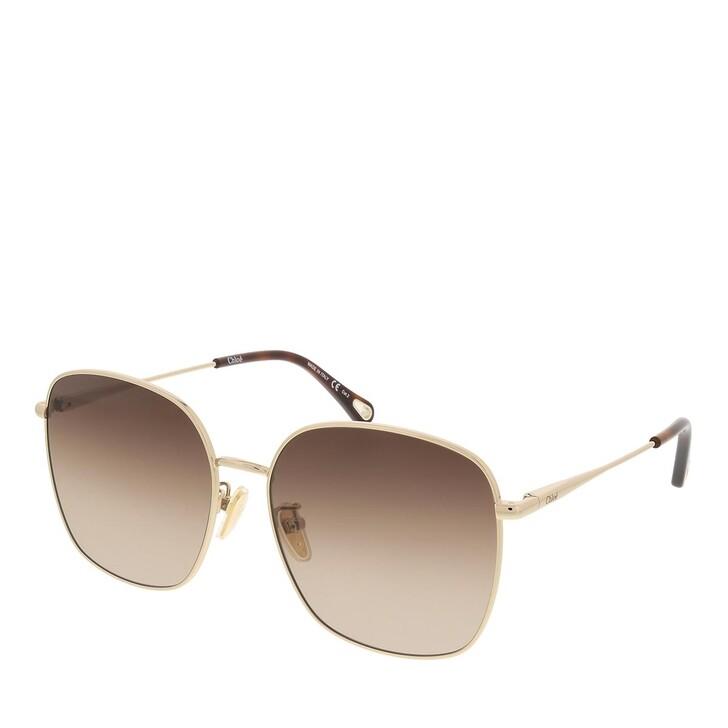 sunglasses, Chloé, CH0076SK-001 58 Sunglass Woman Metal Gold-Gold-Brown