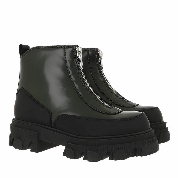 Schuh, GANNI, Zipper Boots Brush Off Dark Green