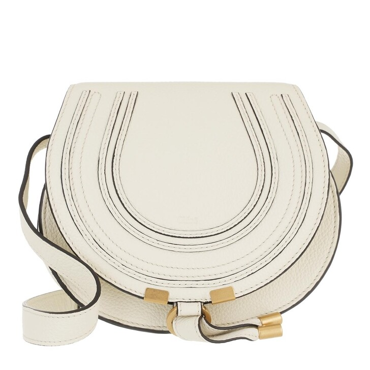 bags, Chloé, Small Marcie Shoulder Bag Grained Leather Natural White