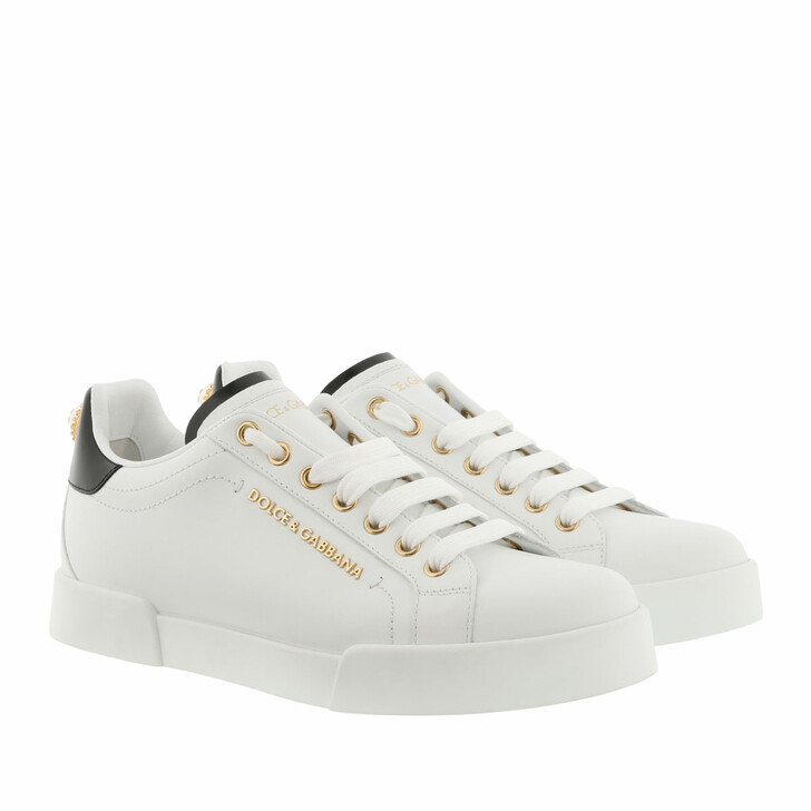 Schuh, Dolce&Gabbana, Portofino Sneaker Calf Leather White/Black/Gold