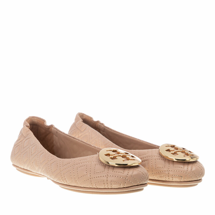 Schuh, Tory Burch, Quilted Minnie With Metal Logo Goan Sand / Gold