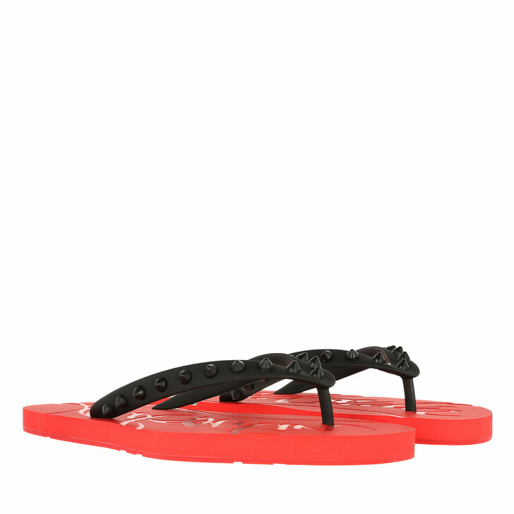 shoes, Christian Louboutin, Loubi Flip-Flops Rubber Red/Black