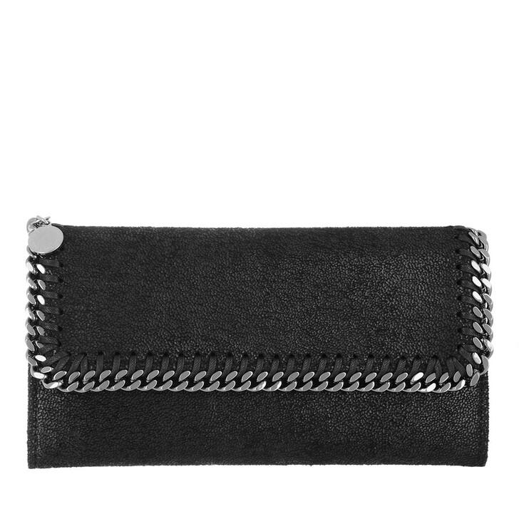 wallets, Stella McCartney, Continental Flap Wallet Shaggy Deer Black