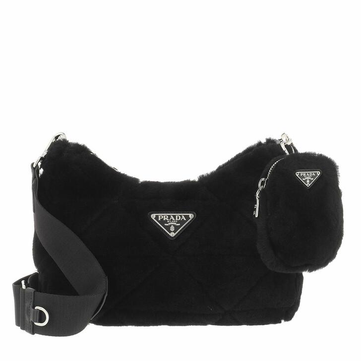 bags, Prada, Shearling Shoulder Bag Black