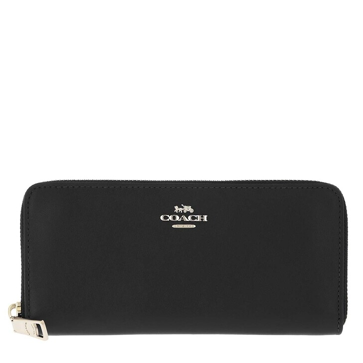 wallets, Coach, Smooth Leather Slim Accordion Zip Gd/Black