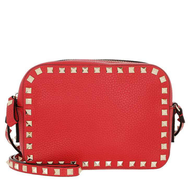 bags, Valentino Garavani, Rockstud Camera Crossbody Bag Rouge Pur