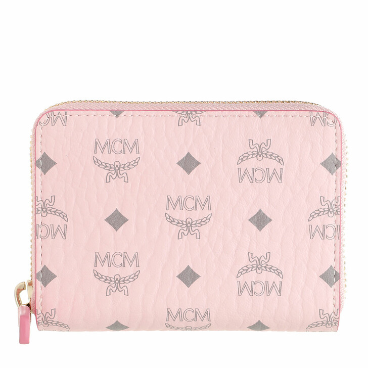 Geldbörse, MCM, Mini Zip Wallet Leather Powder Pink