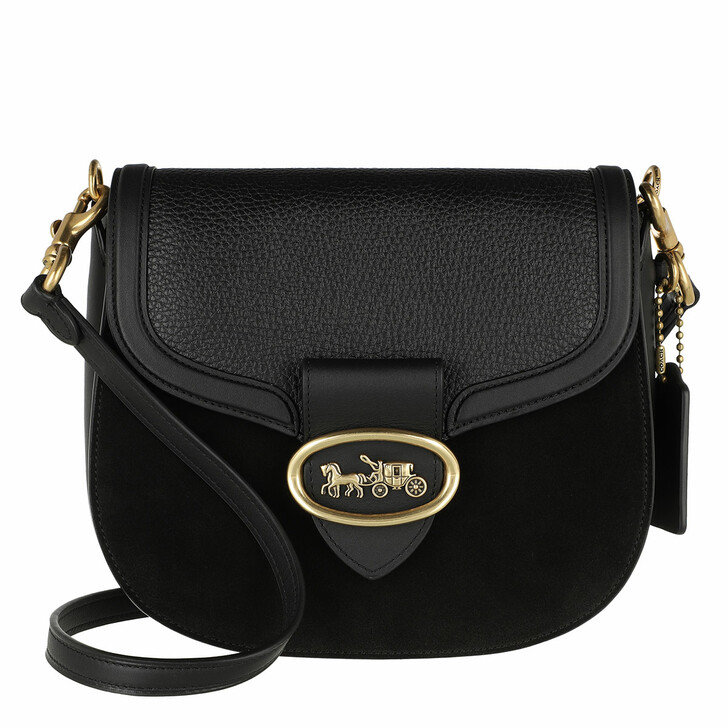 Handtasche, Coach, Mixed Leather Kat Saddle Bag 20 Black