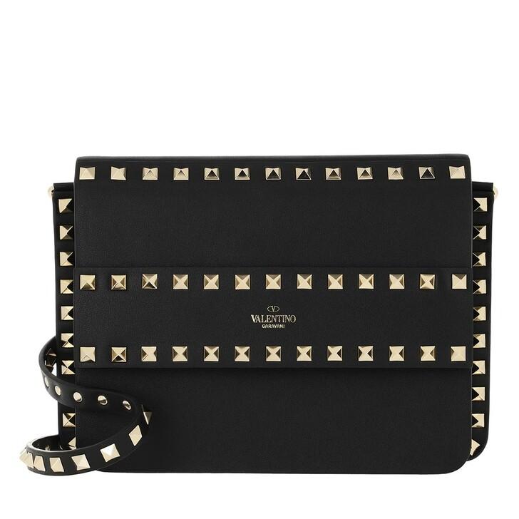 Handtasche, Valentino, Rockstud Shoulder Bag Leather Black