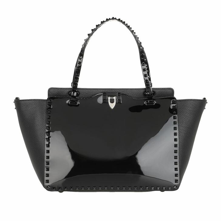 Handtasche, Valentino, Rockstud Medium Tote Bag Calfskin Black