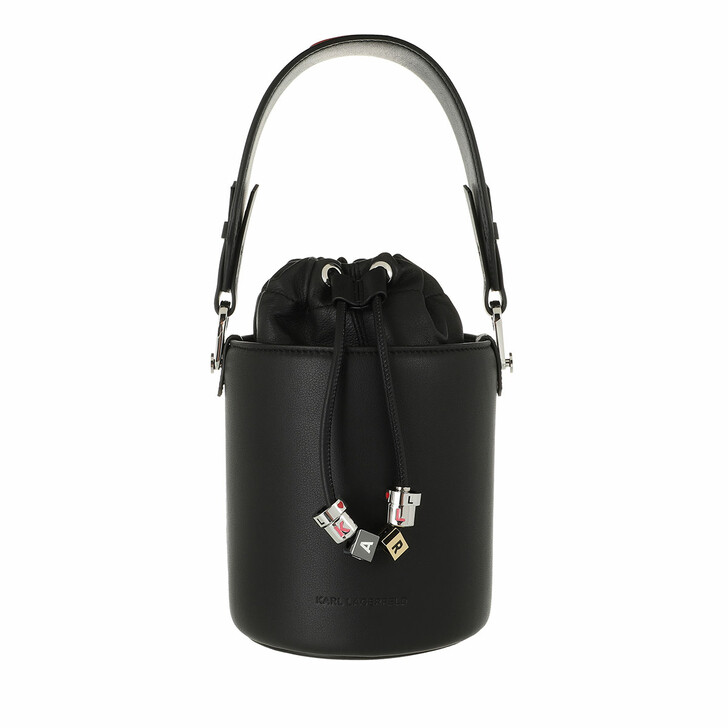 bags, Karl Lagerfeld, Charms Small Bucket  Black