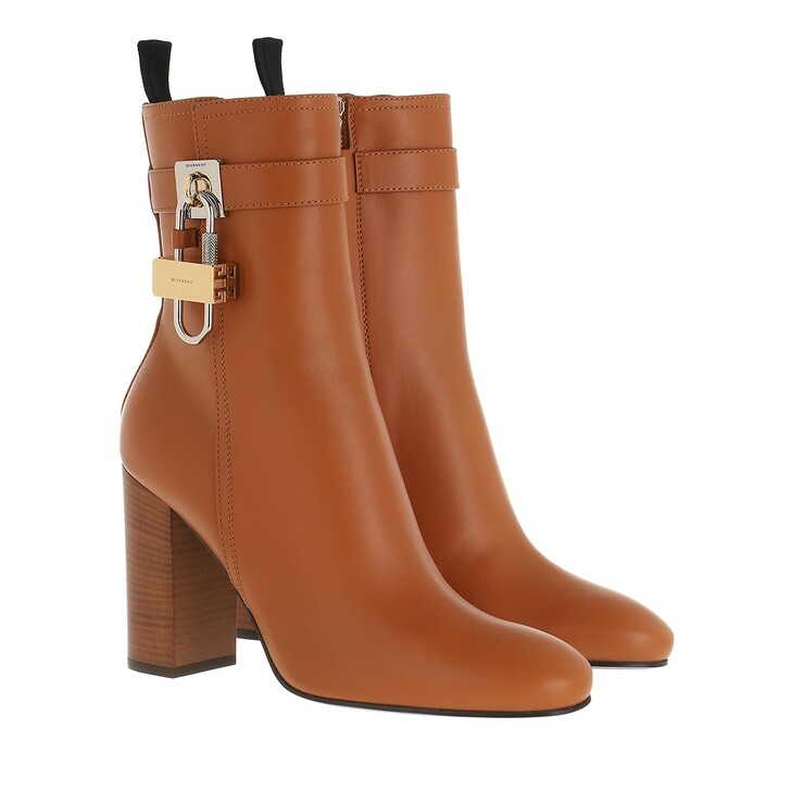 shoes, Givenchy, Padlock Ankle Boots Leather Tan