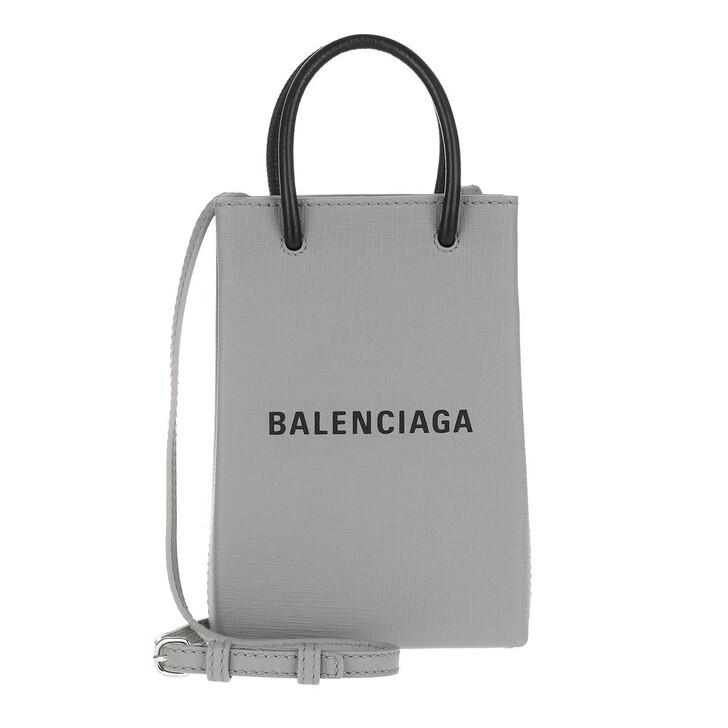 smart_cases, Balenciaga, Shopping Phone Holder Bag Leather Balenciaga Grey